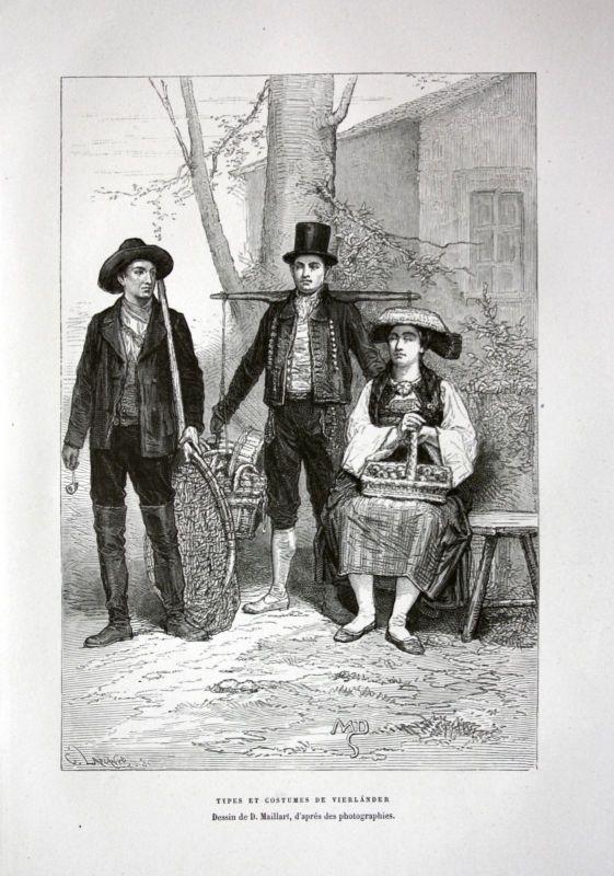 Ca. 1870 Vierlande Hamburg Bergedorf Tracht Trachten costumes Holzstich antique