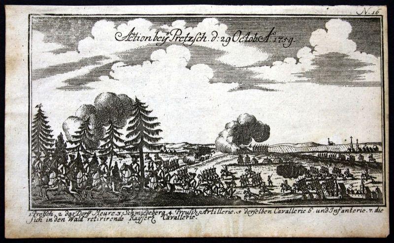 Ca. 1760 Pretzsch Siebenjähriger Krieg Kupferstich Schlacht engraving battle
