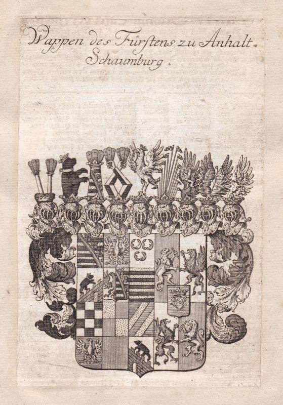 Anhalt-Bernburg-Schaumburg-Hoym Lebrecht Adel Wappen coat of arms Kupferstich