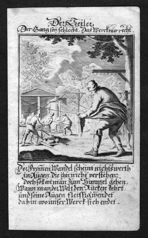 Seiler ropemaker cordmaker Beruf profession Weigel Kupferstich antique print