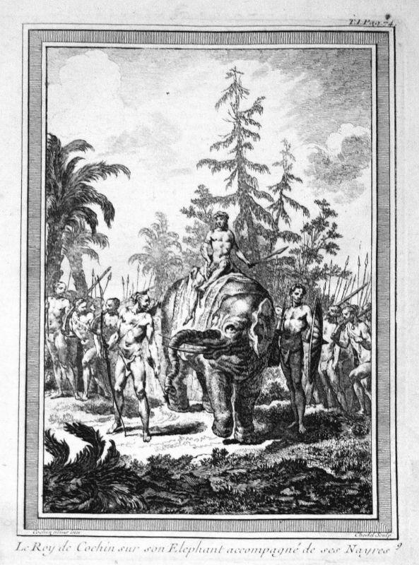 Ca 1750 Kochi Indien India king König elephant Elefant Kupferstich antique print