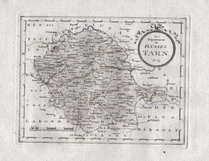 1795 Tarn Albi Castres Carmaux Mazamet Lavaur carte gravure map Karte engraving