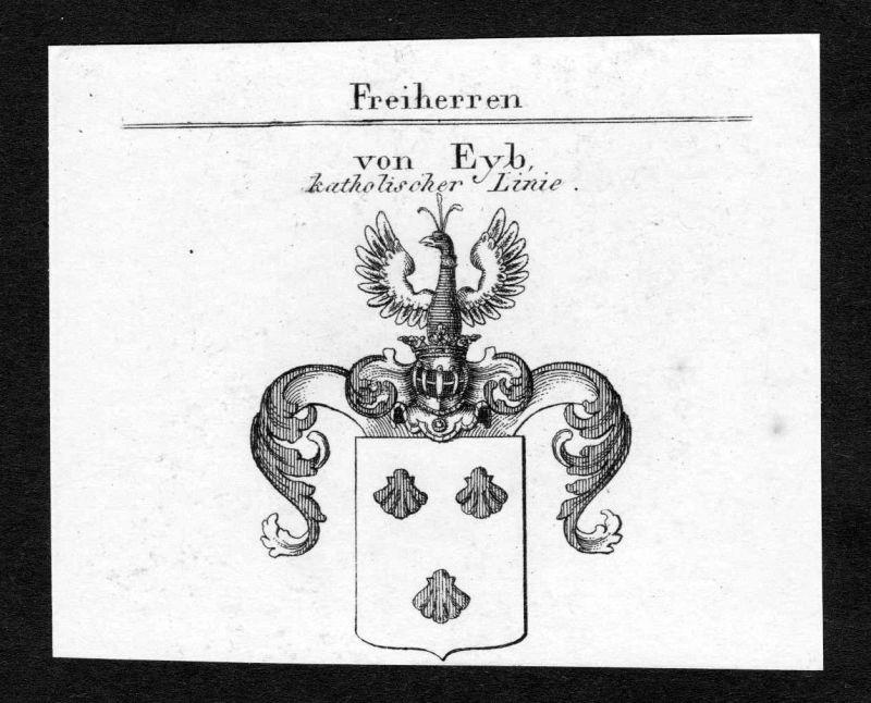 Ca. 1820 Eyb Wappen Adel coat of arms Kupferstich antique print heraldry