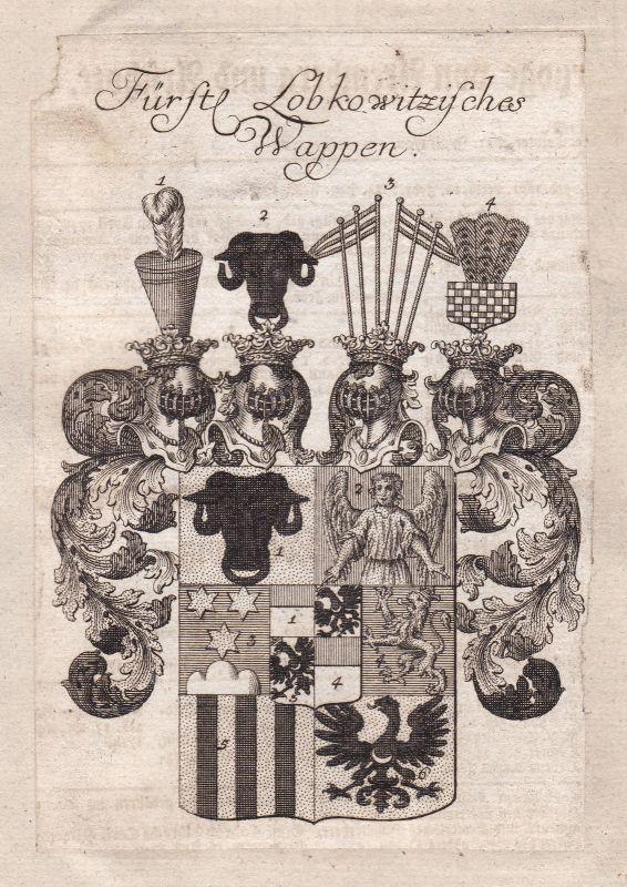 Lobkowitz Tschechien Böhmen Czech Bohemia Adel Wappen coat of arms Kupferstich