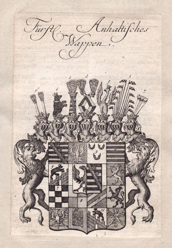 Anhalt Sachsen-Anhalt Deutsches Reich Adel Wappen coat of arms Kupferstich