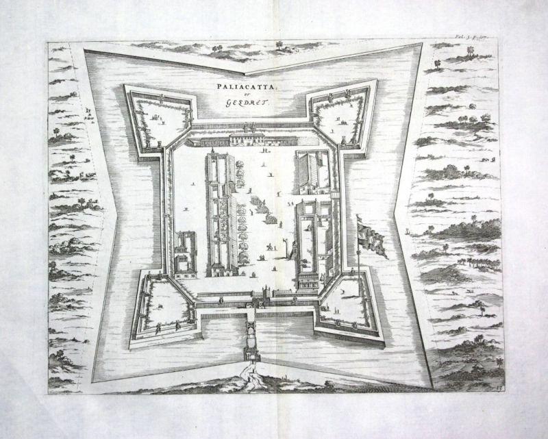 1730 Churchill Pulicat Tamil Nadu India Indien Kupferstich engraving map Karte