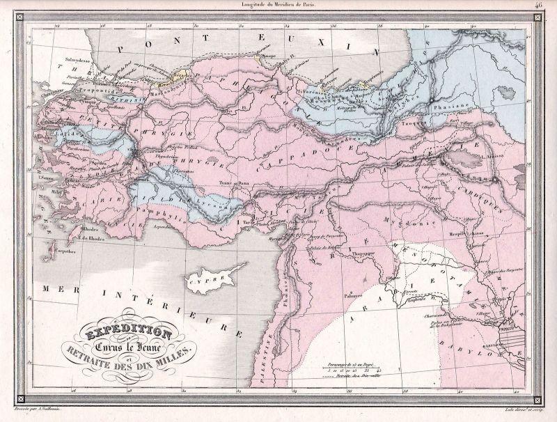 1840 Arabia Arabien Cyrus Zypern Syria Syrien Turkey Türkei Karte map Vuillemin