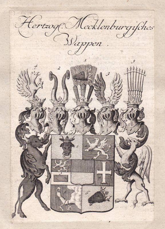 1750 Mecklenburg-Vorpommern Adel Wappen coat of arms Kupferstich antique print
