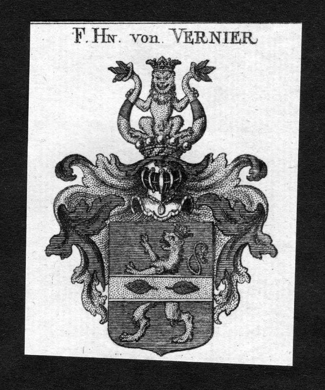 1820 - Vernier Wappen Adel coat of arms heraldry Heraldik Kupferstich