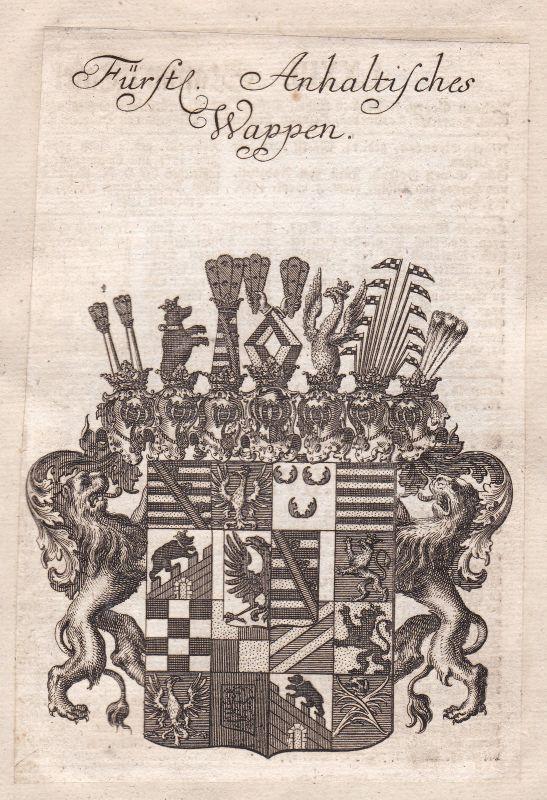 Sachsen-Anhalt Deutsches Reich Anhalt Adel Wappen coat of arms Kupferstich