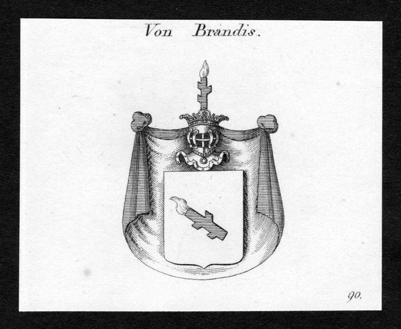 Ca. 1820 Brandis Wappen Adel coat of arms Kupferstich antique print heraldry