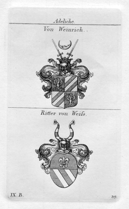 Weinrich / Weiss - Wappen Adel coat of arms heraldry Heraldik Kupferstich