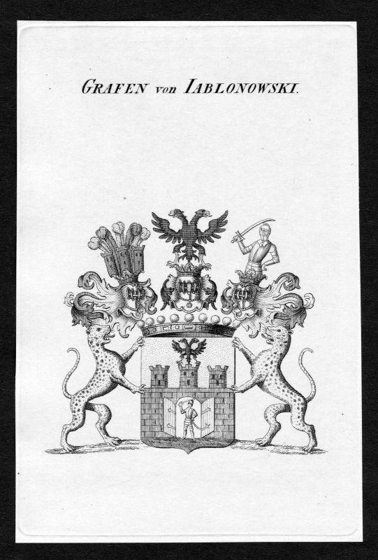 1820 - Jablonowski Wappen Adel coat of arms heraldry Heraldik Kupferstich