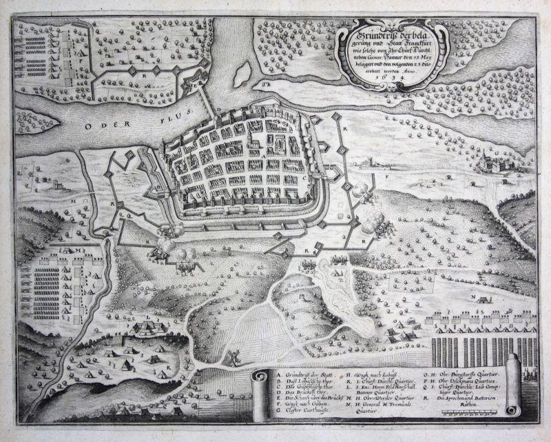 1640 Frankfurt an der Oder Belagerung Schlacht Plan Kupferstich antique Merian