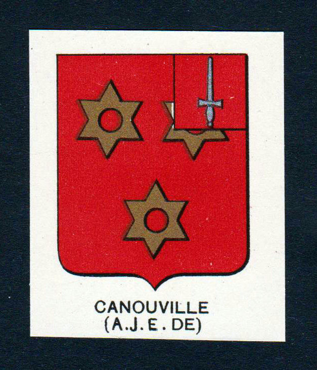 Ca. 1880 Canouville Wappen Adel coat of arms heraldry Lithographie antiqu 146202