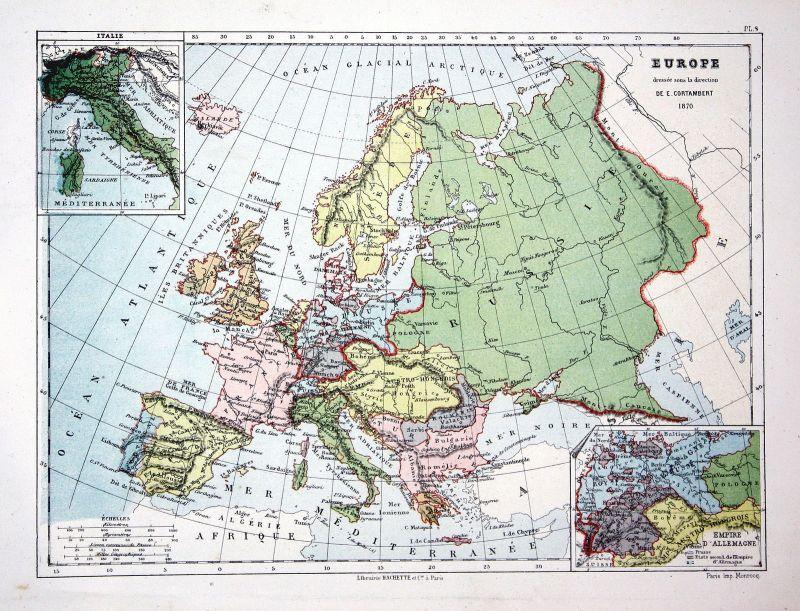 Europa Europe Germany Italy Spain Poalnd Weltkarte Karte world map Lithographie