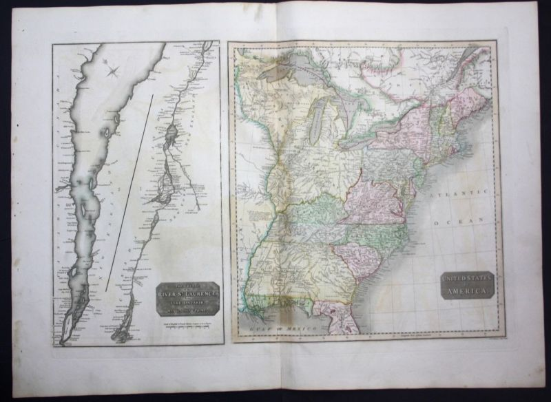 1817 United States of America USA map Karte Thomson Kupferstich engraving