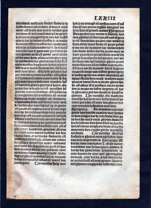 1499 Blatt LXXIII Inkunabel Vita Christi Zwolle incunable Dutch Holland
