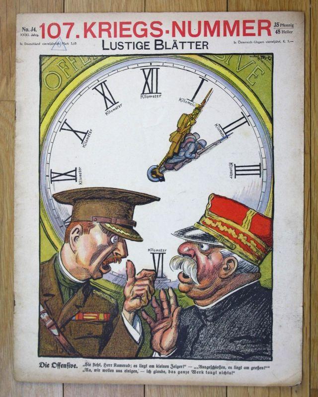 1916 Krieg lustige Blätter 107. Kriegsnummer 31. Jahrgang Nr. 34
