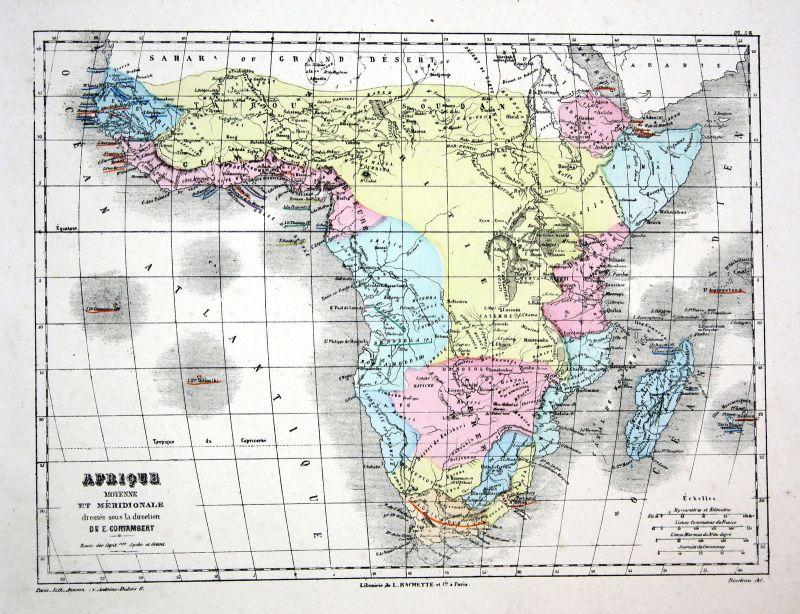 Africa Afrika Madagascar Weltkarte Karte world map Lithographie ...