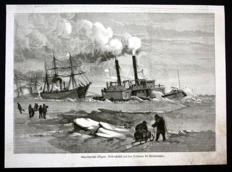 1877 Delaware river Philadelphia Schiff ship Eis ice Holzstich antique print