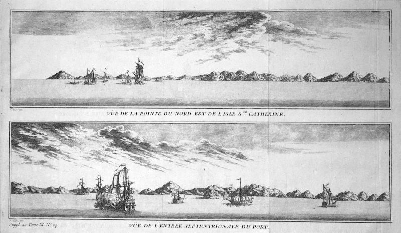 1750 St. Catherine Insel island harbour Ansicht view Kupferstich antique print