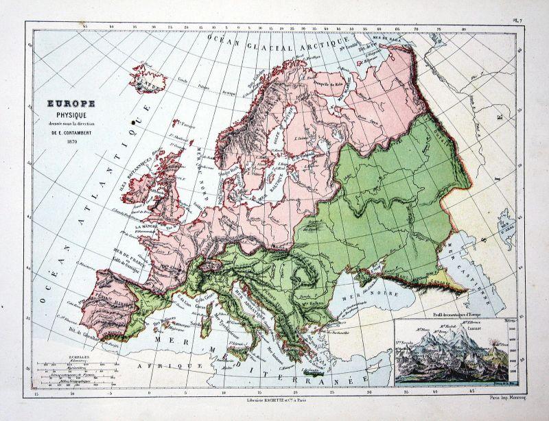 Europa Europe Italy Italien Spain Spanien Weltkarte Karte world map  Lithographie