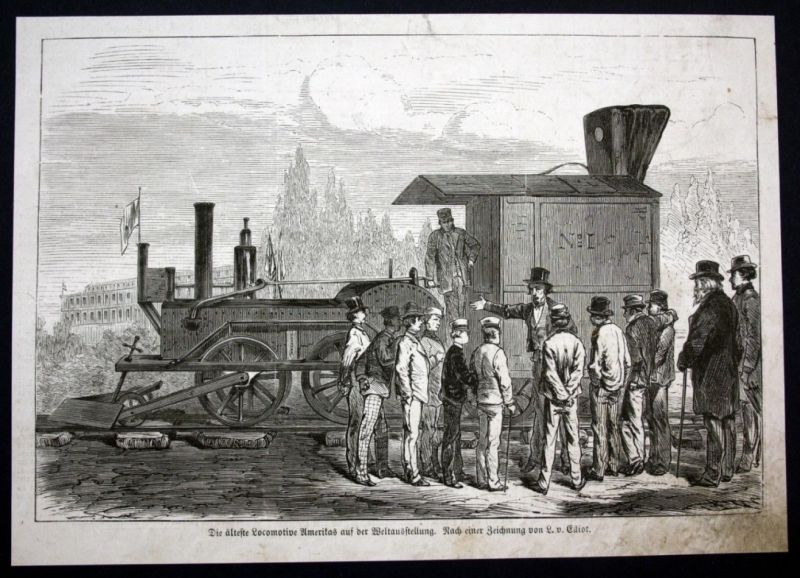 1877 Lokomotive Eisenbahn locomotive Austellung Holzstich antique print