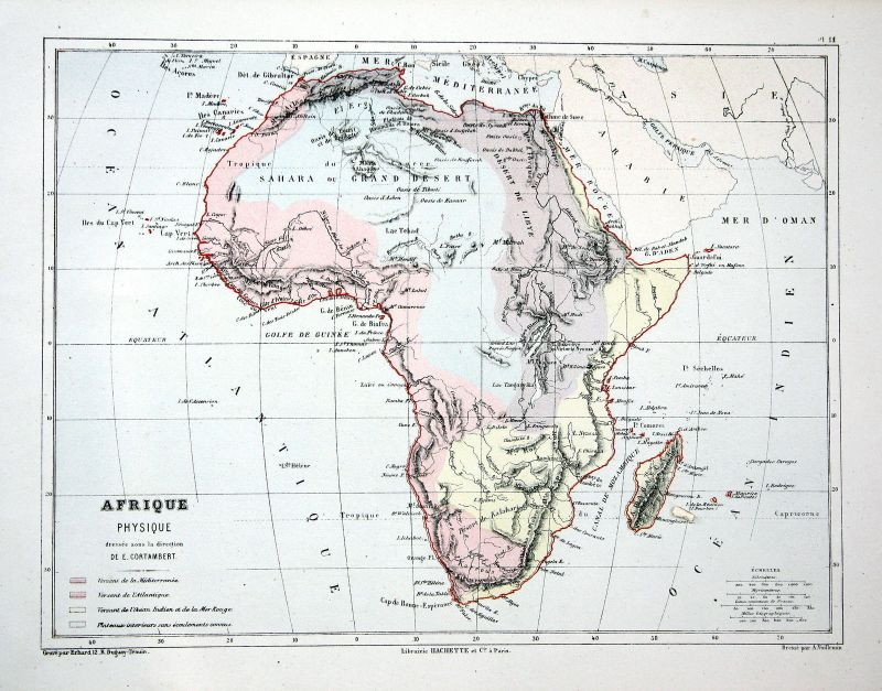 Afrika Africa Egypt Ägypten Weltkarte Karte world map Lithographie  lithograph