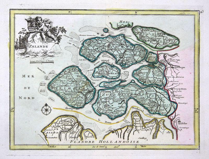 Zeeland Holland Karte.1767 Zeeland Middelburg Terneuzen Karte Map Holland Antique Print Le Rouge