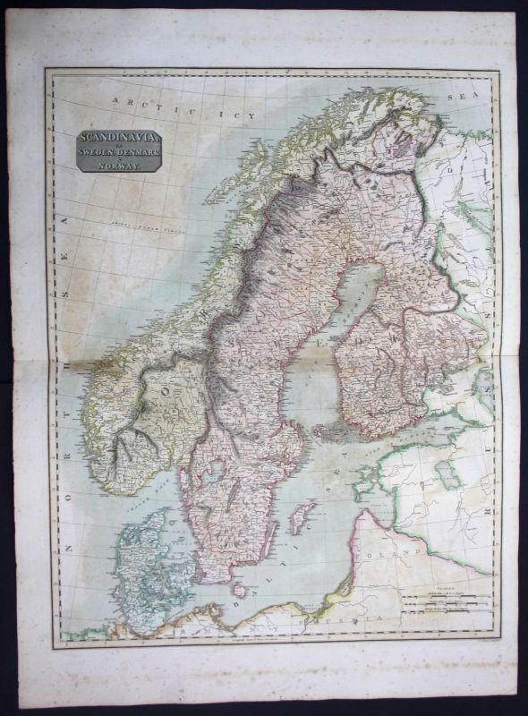 1817 Scandinavia Sweden Denmark Norway Finland map Karte Thomson Kupferstich