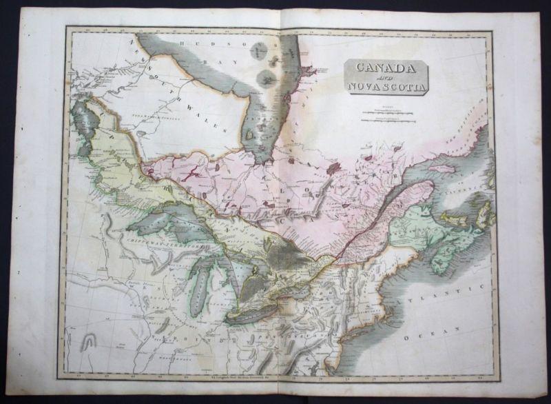 1817 Canada Nova Scotia North America map Karte Thomson Kupferstich engraving