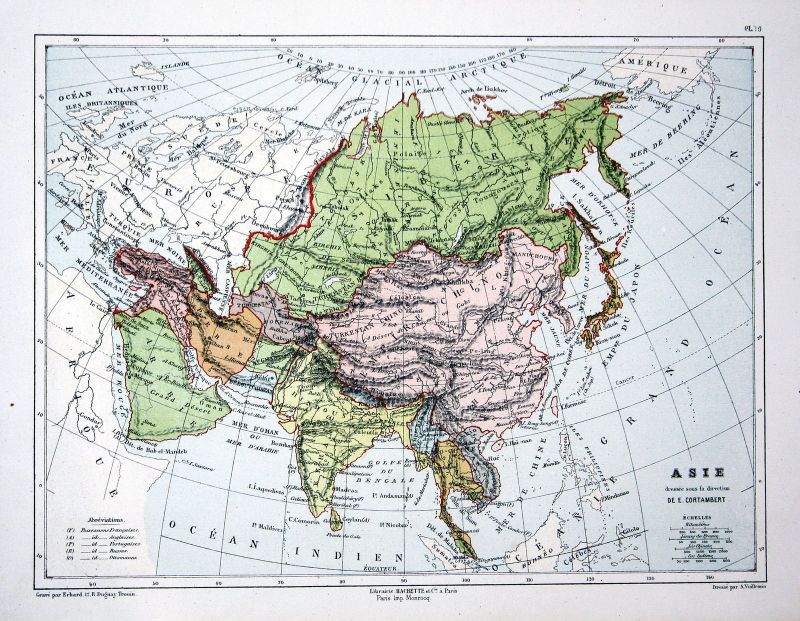 Asia Asien Arabia India China Weltkarte Karte world map Lithographie lithograph