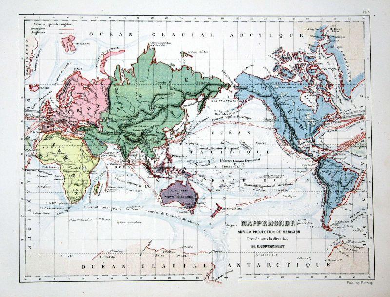 Asia Asien Amerika America Weltkarte Karte world map Lithographie lithograph