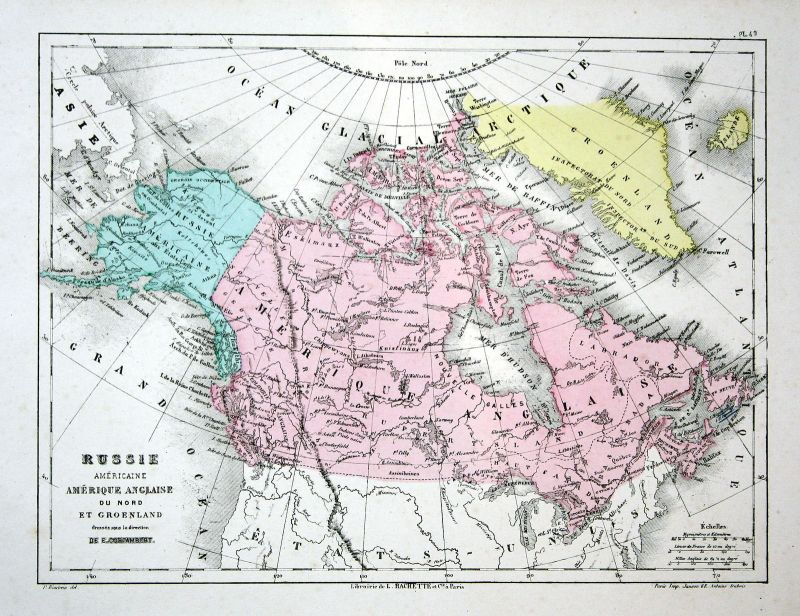 Russia Russland America Greenland Weltkarte Karte world map lithograph Litho