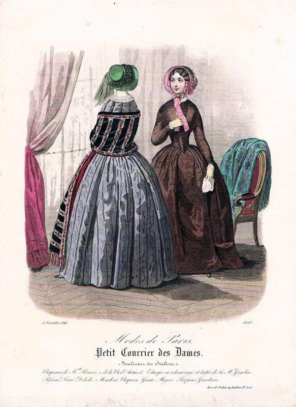 1846 Biedermeier Mode Kupferstich victorian fashion antique print etching  62260