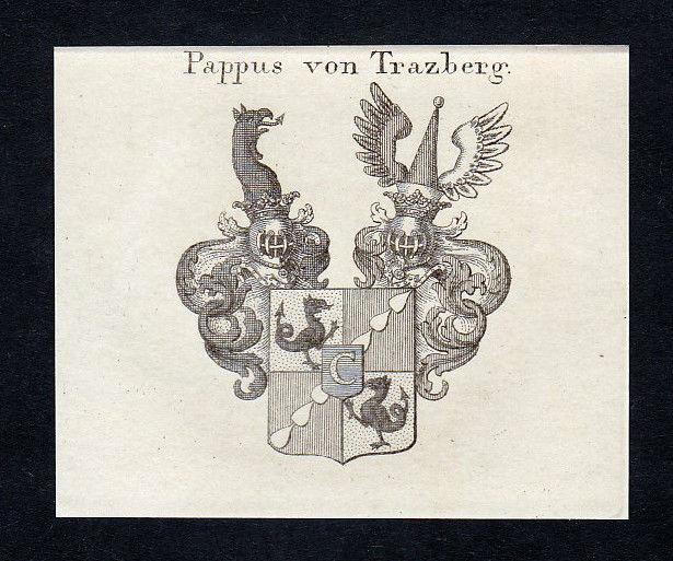 1820 Trazberg Tratzberg Pappus Wappen Adel coat of arms Kupferstich engraving