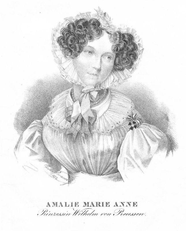 1840 - Prinzessin Marianne von Preußen Marie Anne Amalie Lithographie Portrait