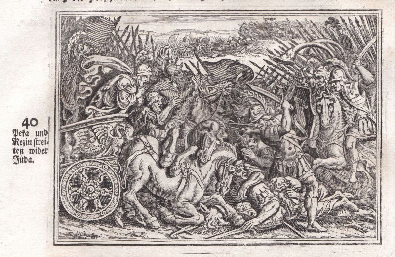 1700 Peka Rezin Streit Kampf battle fight Juda Kupferstich antique print Merian