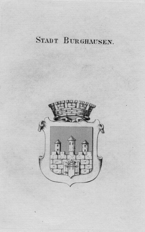 1820 - Stadt Burghausen Wappen Adel coat of arms heraldry Heraldik Kupferstich