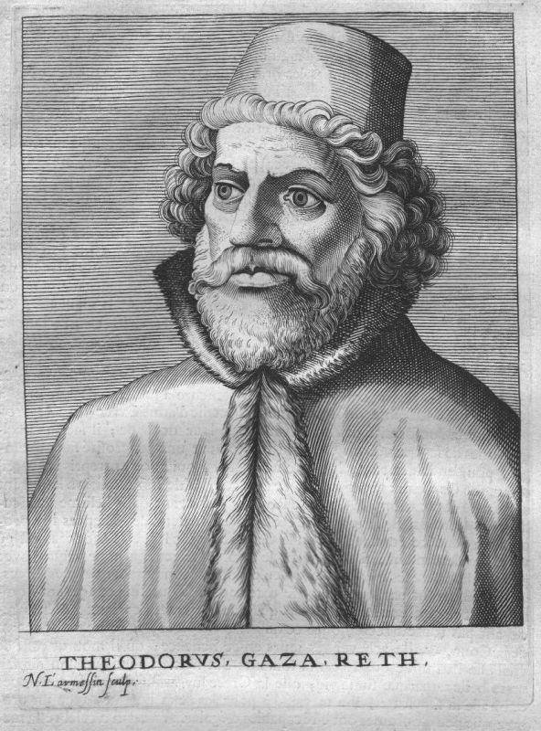 1695 - Theodorus Gaza Humanist greek Portrait engraving Kupferstich