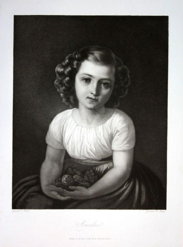 1857 Amalie Portrait Mädchen girl Mezzotinto Aquatinta mezzotint Christian Mayer