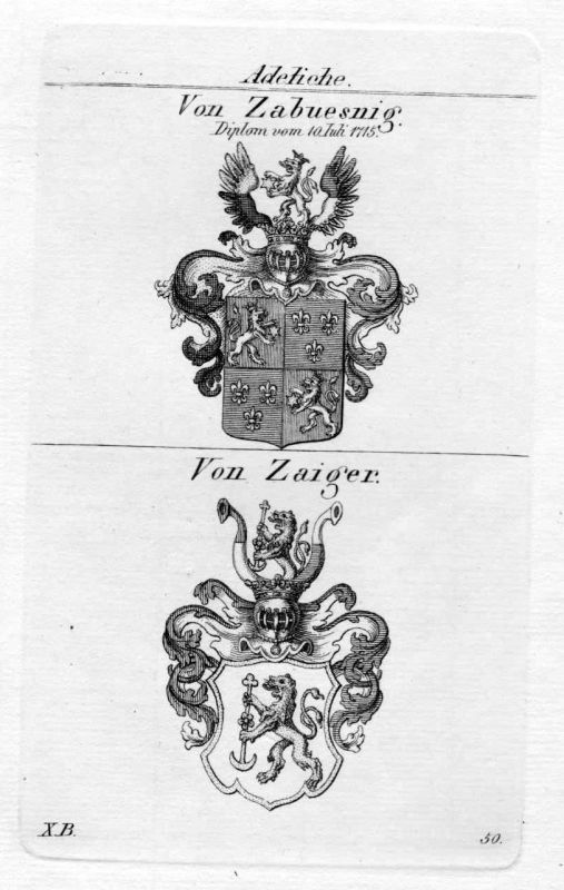 1820 - Zaiger Zabüsnig Wappen Adel coat of arms heraldry Heraldik Kupferstich