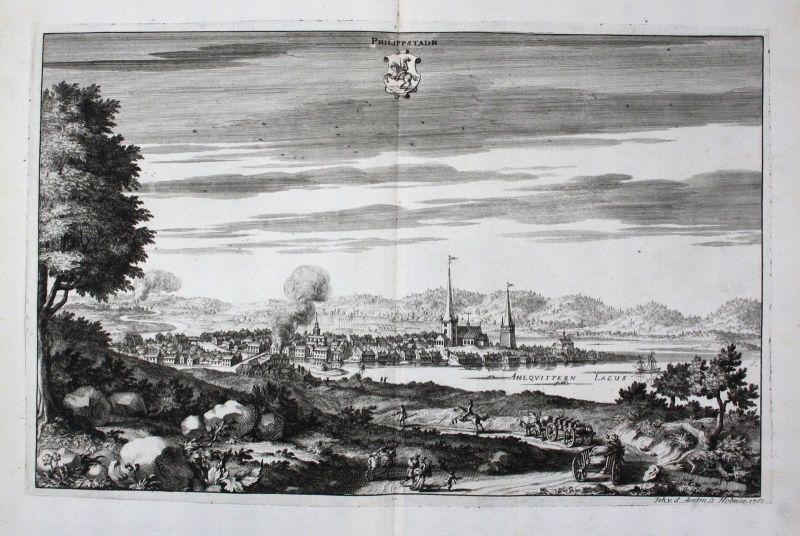 1710 - Filipstad Värmland sweden schweden Kupferstich Dahlberg engraving