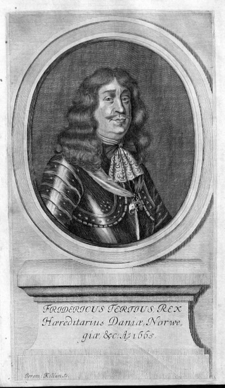1680 - Friedrich III. Dänemark-Norwegen-Norway Portrait Kupferstich gravure