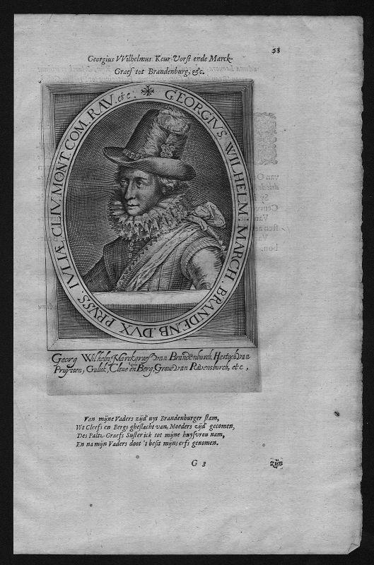 1625 - Georg Wilhelm Kurfürst Brandenburg Preußen Herzog Portrait Kupferstich