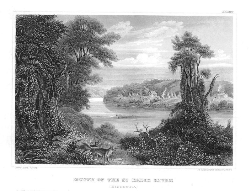 1840 - Mouth of the St. Croix River Minnesota Original Stahlstich engraving