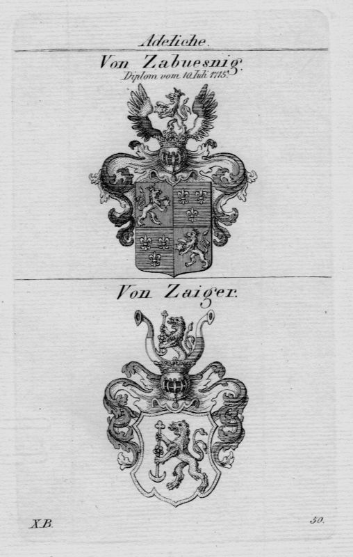 1820 - Zabuesnig Zaiger Wappen Adel coat of arms heraldry Heraldik Kupferstich