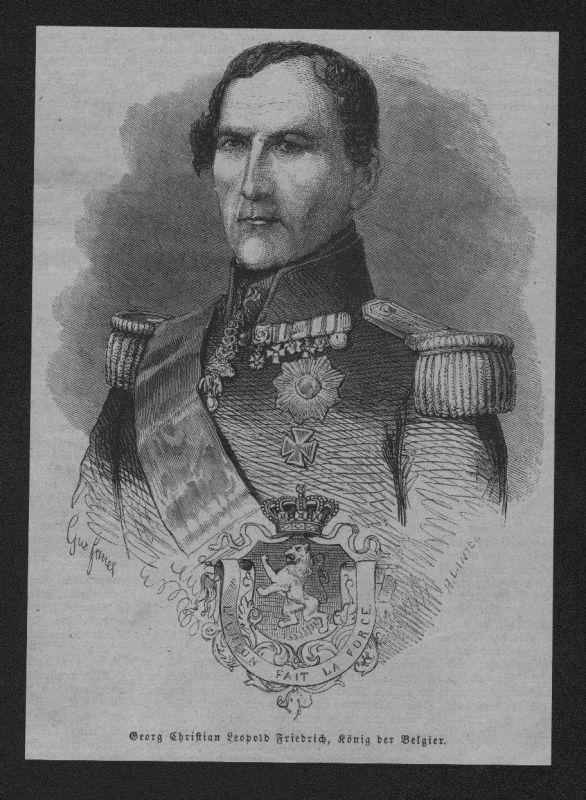 1865 Portrait Leopold I erste Königer der Belgier Holzstich wood engraving
