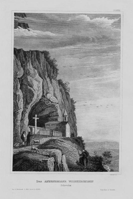 1840 - Appenzell Wildkirchlein Innerrhoden Alpstein Schweiz Suisse Stahlstich